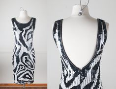 80s Avant Garde Sequined Dress   Vintage 80s Couture Dress Party Dress RIAZEE Backless Sexy Dress Mod 60s Style Bold Graphic Black and White by BlueHorizonVintage on Etsy