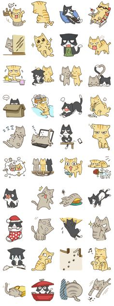 New drawing cat cartoon fun 24 ideas Chat Kawaii, Kawaii Cat, Stickers Kawaii, Cute Stickers, Cartoon Mignon, Chibi, Art Mignon, Neko, Cat Drawing