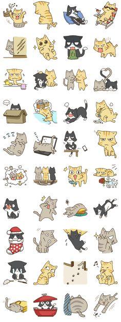 New drawing cat cartoon fun 24 ideas Chat Kawaii, Kawaii Cat, Stickers Kawaii, Cute Stickers, Cartoon Mignon, Chibi, Art Mignon, Doodles, Cat Drawing