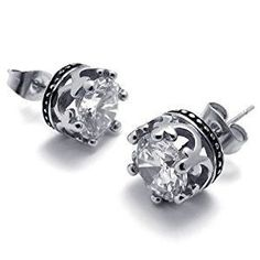 KONOV Jewelry Vintage Stainless Steel Cubic Zirconia Men's Royal Crown Stud Earrings Set, 2pcs, Color Silver (with Gift Bag)  http://electmejewellery.com/jewelry/mens-jewelry/mens-earrings/konov-jewelry-vintage-stainless-steel-cubic-zirconia-men39s-royal-crown-stud-earrings-set-2pcs-color-silver-with-gift-bag-com/