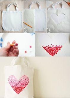 Corazón pintado con goma de lapiz