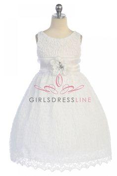 White Floral Lace Overlaid Sleeveless Flower Girl Dress