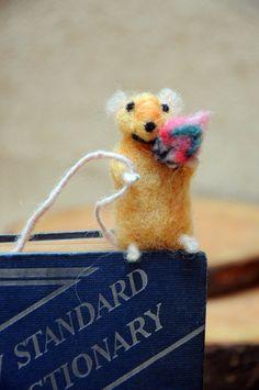 Felt miniature mouse bookmark Needle felted mouse by Morenafelting