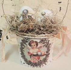Easter Basket With 2 Eggs Adult Grown Up Shabby Chic Vintage Cottage Angel Bird Nest Spring Decor Peat Pot