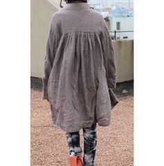 Free Style Pleated Linen Long Coat/ Cape/ Heather by Ramies