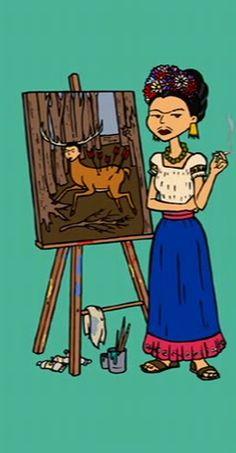 Jane as Frida Kahlo, end credits of Daria, Season 4 Daria Morgendorffer, Jane Lane, Daria Quotes, Daria Mtv, Frida And Diego, Frida Art, Diego Rivera, Animation, My Spirit Animal