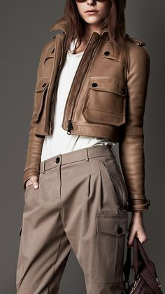 cropped flying jacket from Burberry London collection. Sexy~