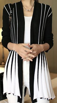 Stripe Print Long Sleeve Cardigan