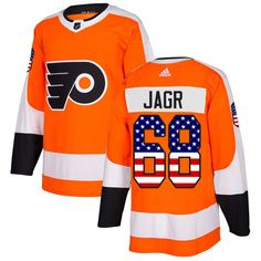 79454212d Adidas Flyers  68 Jaromir Jagr Orange Home Authentic USA Flag Stitched NHL  Jersey Nhl Jerseys