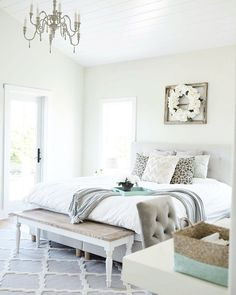 Farmhouse Master bedroom. I wanted our bedroom to be calming and relaxing, so I went with a lot of whites.