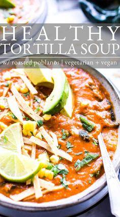 Vegetarian Soup, Vegetarian Recipes, Tortilla Soup, Bean Recipes, Guacamole, Roast, Avocado, Beans, Healthy