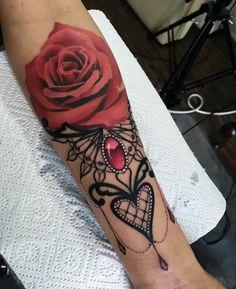 #rose #tattoo #lace #gemstone #heart