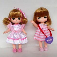 "2X Miki & Maki Takara Tomy Licca Doll Kindergarten Girl Blythe Pullip Chan 4.5"""