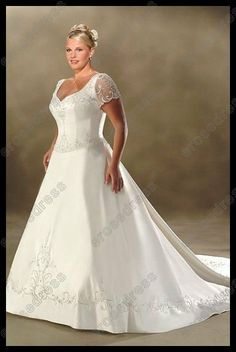 More Beautiful Basque Waist V-neck Appliqued Plus Size Wedding Dress With Sleeves PK-039 $243.00
