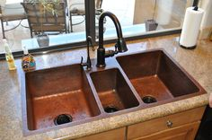 I'm not into copper, but like the layout of this sink with the faucet inched in a bit
