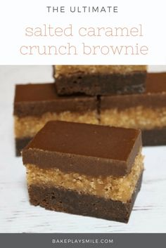 The most amazingly rich, decadent and delicious SALTED CARAMEL CRUNCH BROWNIE. Three layers of pure awesomeness… chocolate brownie base, caramel crunch filling and chocolate ganache topping!!! #brownie #best #salted #caramel #recipe #thermomix #conventional #dessert