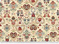 Tkanina dekoracyjna zakardowa, folklor, 140cm