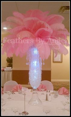 Prom? feather and crystal arrangement, white & black, of course