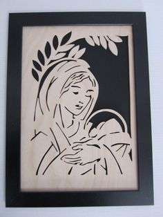 Quadro Madonna Maria con bambino legno traforo