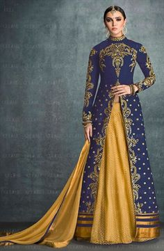 719237 Beige and Brown, Blue color family Long Lehenga Choli in Bhagalpuri, Silk fabric with Machine Embroidery, Thread work .