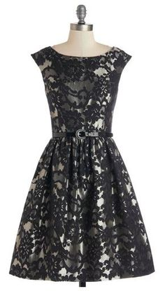 Black and silver jacquard holiday dress
