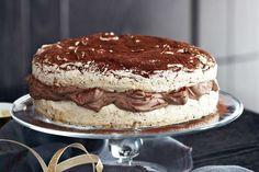 Chocolate and hazelnut meringue gateau