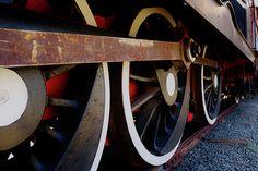 Vintage train wheels and train tracks #vintage #train #wheels #tracks #black #red #white #stones #background #wallpaper #rust