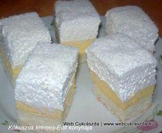 Érdekel a receptje? Hungarian Cake, Hungarian Recipes, Hungarian Food, Pudding Recipes, Cake Recipes, Coconut Slice, Cake Bars, Desert Recipes, Cake Cookies