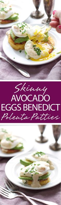 A mouth-watering Skinny Avocado Eggs Benedict Polenta Patties recipe that is a lightened breakfast solution. A healthier recipe and gluten-free! | forkknifeandlove.com
