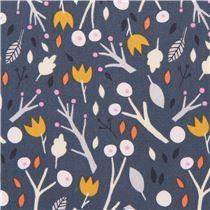 Tissu Cloud 9 coton bio gris-bleu foncé « Sweet Autumn Day », fleurs, feuilles