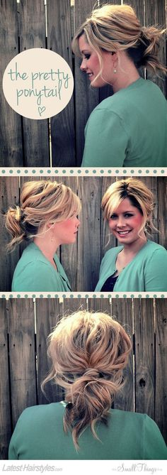 The pretty ponytail.   Side swept bangs and dark low lights and blond highlights.