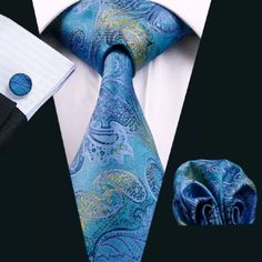 "This is a brand new silk tie set. Set includes coordinating tie, handkerchief and cuff links. Available in various patterns.     Tie length is 61"" from end to end, and 3.25"" width at the widest part of the tie.    **Please Note** This item requires three (3) weeks to ship.  Please take the shipping time into consideration prior to placing your order.  Thank you ~ 📦    **International Shipping Is Available For This Item For $7.20 🌎    Additional tie sets also available on our website at…"