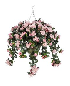 Artificial Azalea Hanging Plant in Beehive Basket Flower Color: Pink >>> Find out more details by clicking the image (This is an amazon affiliate link. I may earn commission from it)