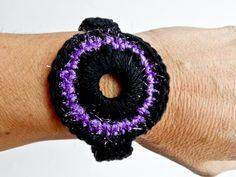 Black & Purple Crocheted Bracelet Golden Heart, Heart Crafts, Crochet Earrings, Purple Things, Bracelets, Black, Jewelry, Fashion, Moda