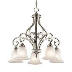 Kichler Lighting Monroe 27-in 5-Light Brushed Nickel Vintage Etched Glass Shaded Chandelier