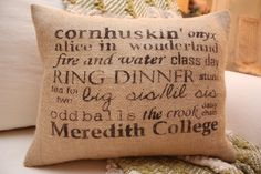 for ODDS Meredith College Inspired Burlap Throw Pillow