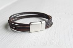 Leather Bracelet. Brown Leather. Distressed Leather. by UnSenzo
