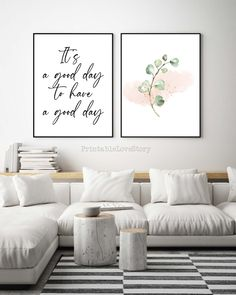 Set of 2 Prints,It's a good day to have a good day,Printable wall art,Bedroom wall decor,Quote prints,Inspirational print, Eucalyptus art by PrintableLoveStory on Etsy