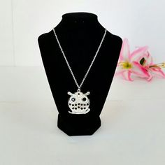 Owl Necklace Costume jewelry - silver owl with black rhinestones. Long chain. Fashion Jewelry   Jewelry Necklaces