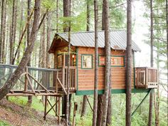 "Treehouse Hotel - For a Family Vacation in Cave Junction, Oregon. Why we love it: The Cottage might look small from the outside, but the interior offers one full-size bed on the ""ground"" level plus a second one in a sleeping loft accessible by wooden ladder."