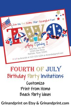 This is our Fourth of July Beach Party Invite. If you are in need of some Fourth of July Birthday Party Ideas for kids then how about a Beach Party? Our fun Fourth of July Birthday Party Invitation is perfect to get a Summer Party, 4th of July, or Memorial Day Party started. We can customize and edit your wording. Use this for a fun Fourth of July Two-Year-Old Birthday too! #redwhiteblue #4thofjulyparty #4thofjuly #beachparty #fourthofjuly #fourthofjulyideas #girlsbirthdayparty #birthdayideas Christmas Tags Printable, Printable Tags, Printable Invitations, Party Printables, Beach Party Invitations, Holiday Invitations, Birthday Invitations Kids, Kids Party Themes, Party Ideas