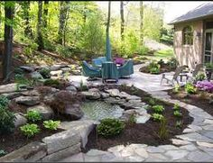 I love the rocks, mulch and water!  So homey!!