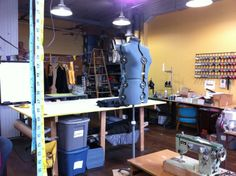 This is what a *real* working studio looks like! Secret Lentil Clothing, March 2014