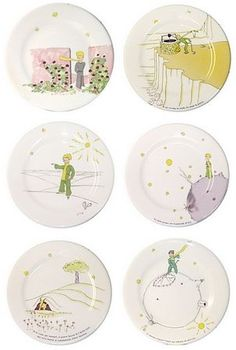 Gien France - Le Petit Prince Salad / Dessert Plates - Set of 6 Assorted Motifs