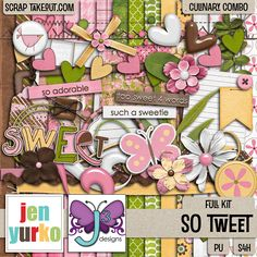 A sweet little collab kit from Designs by Jen Yurko and Triple J Designs! A coordinating alpha is also available. http://scraptakeout.com/shoppe/So-Tweet-Full-Kit1.html