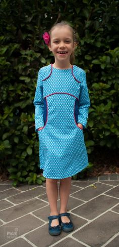 A Miss Polly dress, sewing pattern by Sewpony, fabric by Soft Cactus