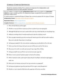 Comma Practice Packet: Updated | Commas In A Series, Sentences and ...