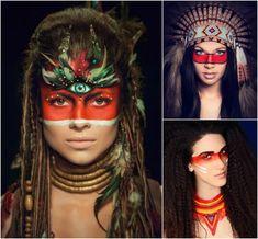 maquillage indienne d'Amérique en peinture-visage-rouge-autour-yeux