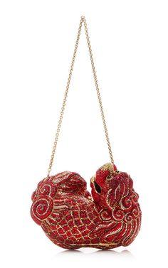 Judith Leiber Chinese Ming Foo Dog Red Gold Minaudiere Evening Bag Vintage