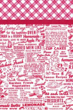 Pillowcase Kit - 1940s Kitchen.  Recipes and images from the 1940s are featured in this delightful pillowcase kit. The accent band is a solid red and the top is a matching red and white plaid. Kit contains the fabric you need to make one standard sized pillowcase.